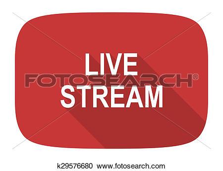 Stock Illustrations of live stream flat design modern icon.