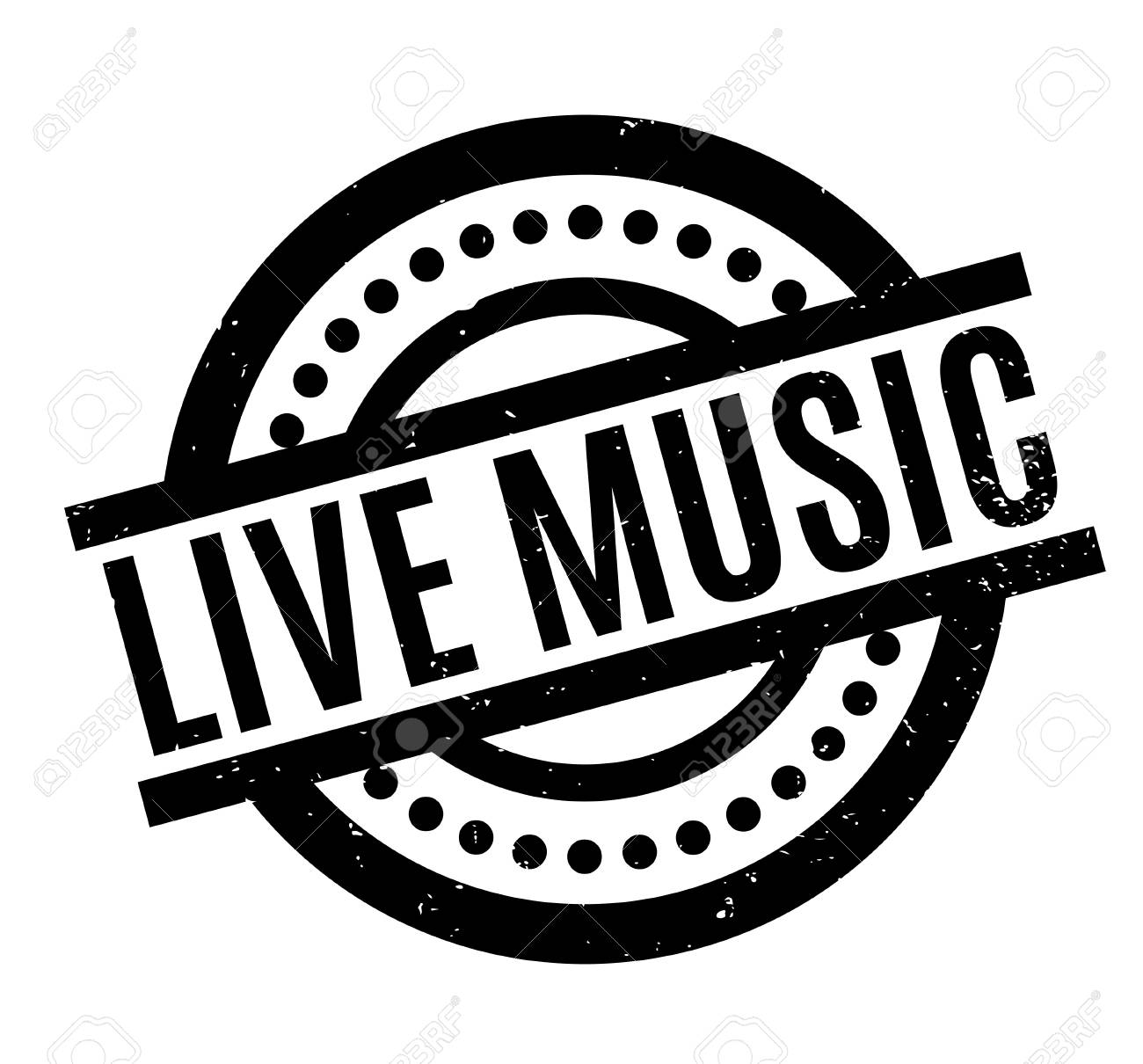 Live Music rubber stamp.