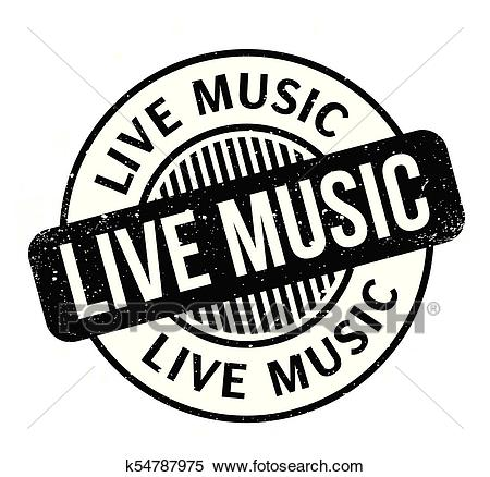 Live Music rubber stamp Clipart.