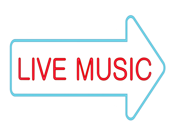 Live Music neon sign transparent background.