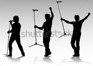 Vector Silhouette of Artists of Hard A Live Performance on Stage.