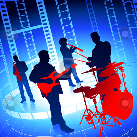 Live Music Band on Film Reel Background stock vector.