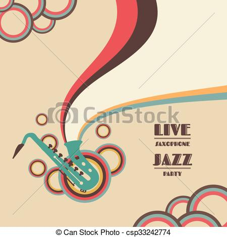 Vectors Illustration of saxophone live show, jazz music concert.