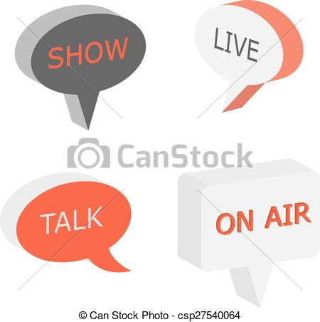 Clip Art Vector of On Air sign, talk show symbol, live cast 3d.