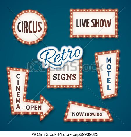 Vector Illustration of Retro neon bulb vector signs set. Cinema.