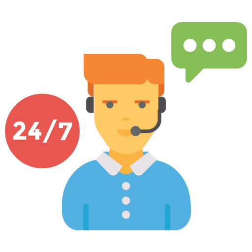 24/7, chat, live, operator, support icon.