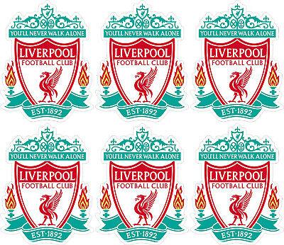 6 x Liverpool FC Football Club Logo Car Van Motorcycle Caravan Sticker  Window.