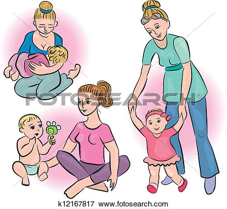 Clip Art of Mothers and babies in their daily lives k12167817.