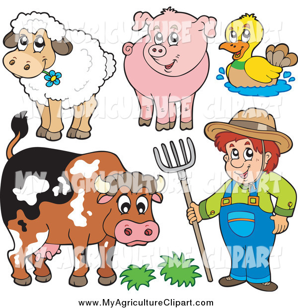 Vector Cartoon Agriculture Clipart of a Male Farmer and His.