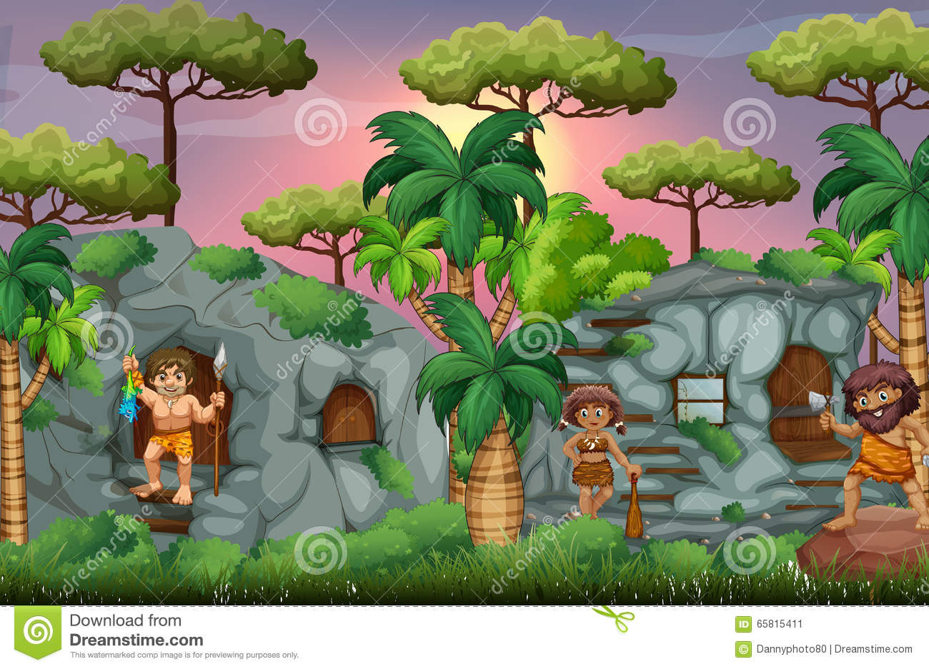 Cave People Living Forest Stock Illustrations.