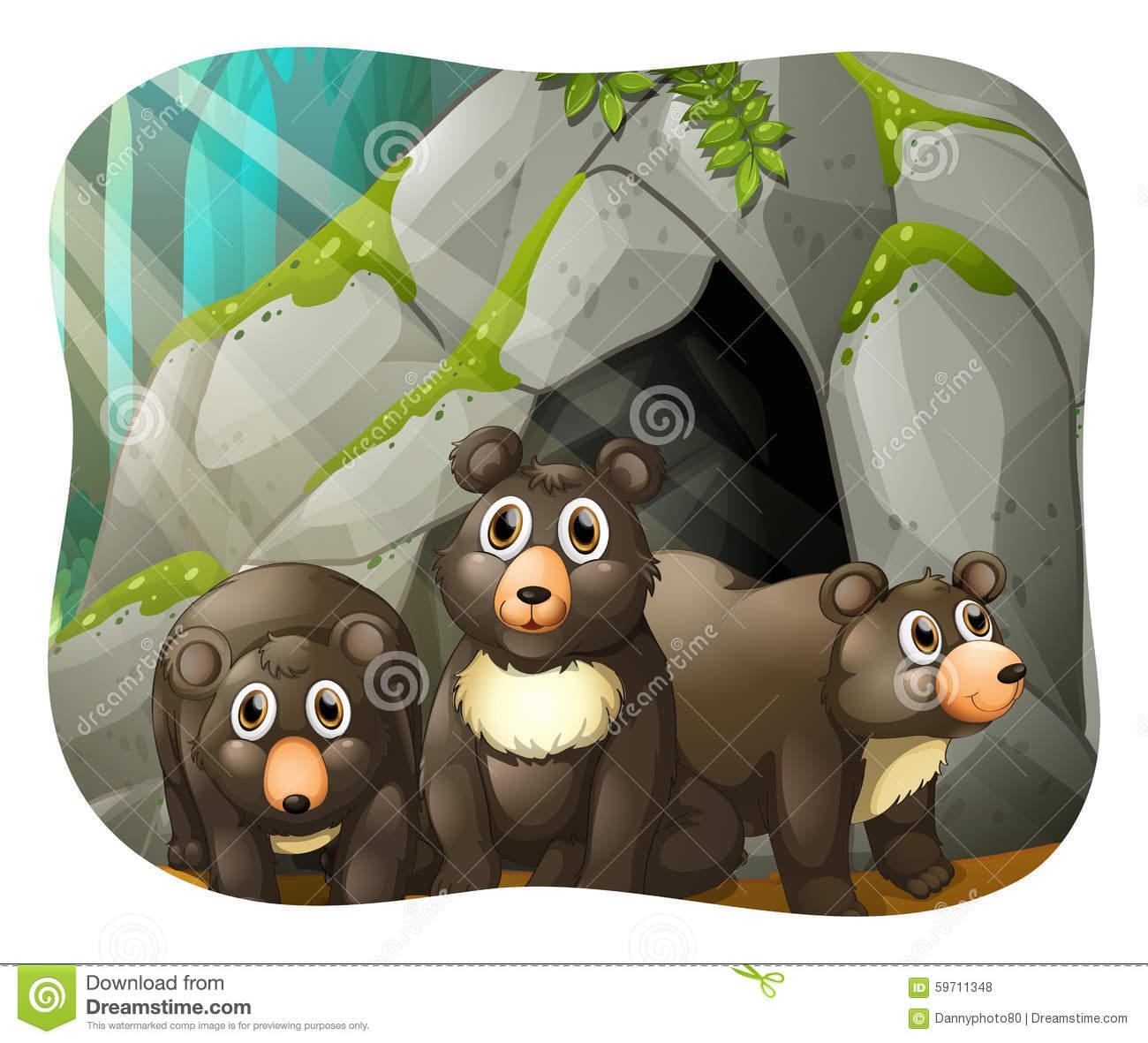 Bear Cave Stock Illustrations.