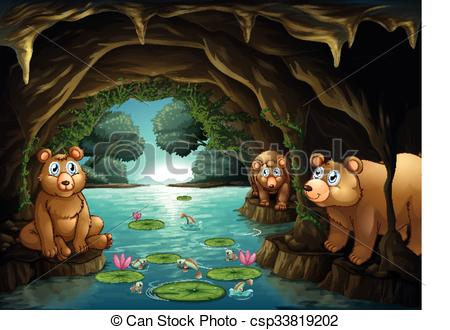 Vector Clipart of Three bears living in the cave illustration.
