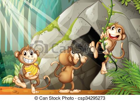 Vectors Illustration of Three monkeys living in the cave.