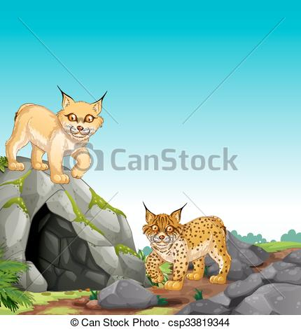 EPS Vector of Two tigers living in the cave illustration.