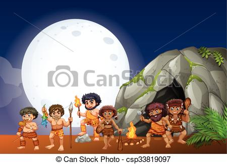 EPS Vectors of Caveman living in the cave illustration csp33819097.