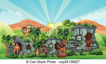 Vector Illustration of Cave people living in stone house.