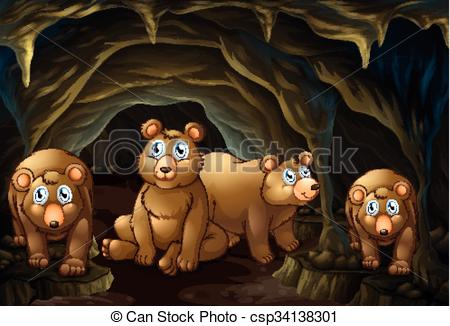 Vector Clipart of Four bears living in the cave illustration.
