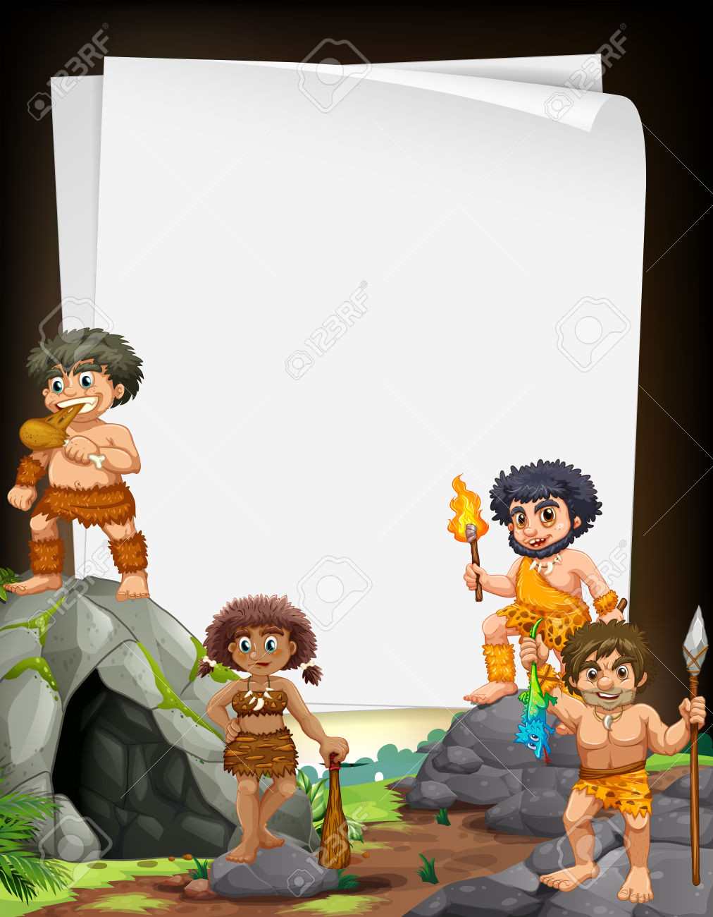 Border Design With Cavemen Living At The Cave Illustration Royalty.