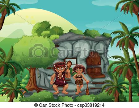 People in cave clipart.