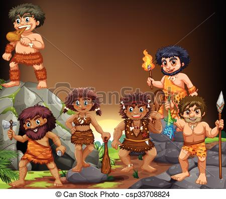 Vector Illustration of Cave people living in the cave illustration.