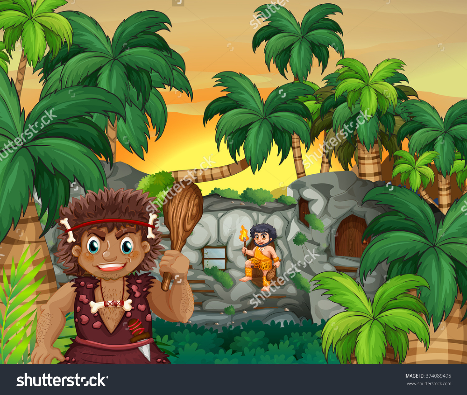 Cave People Living Forest Illustration Stock Vector 374089495.