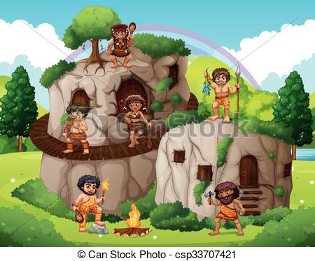 Vector Illustration of Cave people living in the forest.