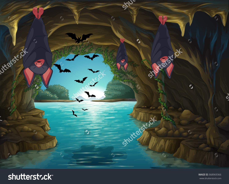 Bats Living Dark Cave Illustration Stock Vector 368969366.