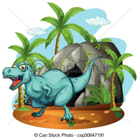 EPS Vectors of Dinosaur living in the cave illustration.