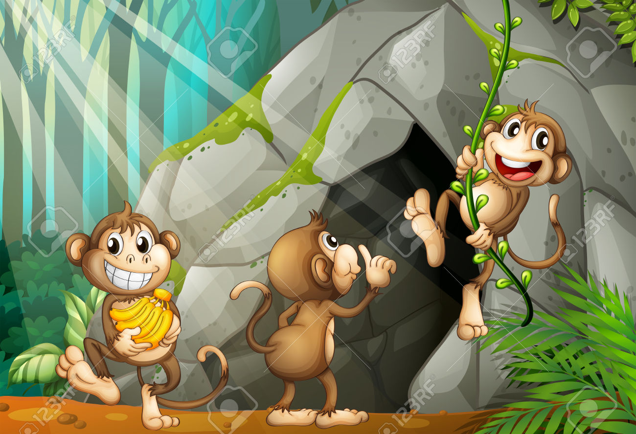 Three Monkeys Living In The Cave Illustration Royalty Free.