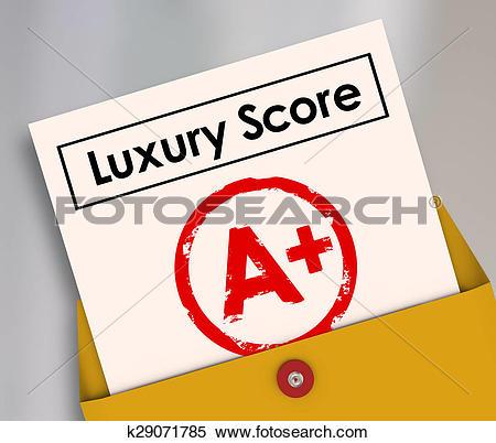 Stock Image of Luxury Score A Plus Report Card Grade Wealth Rich.