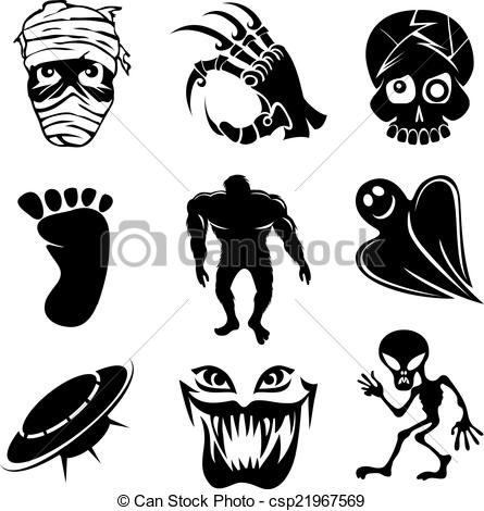 Clip Art Vector of Set of ghost ghouls and alien icons depicting.