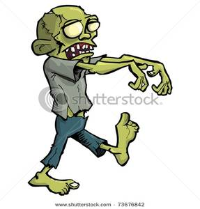 Art Image: A Stiff Zombie Walking with His Arms Out.