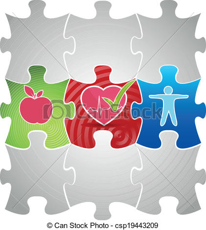 Vector Clipart of Healthy living puzzle concept. Healthy food and.