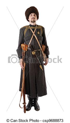 Stock Photos of Russian Cossack standing at attention. The living.