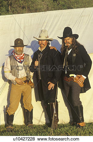 Pictures of Living history participants during Old West event, CA.