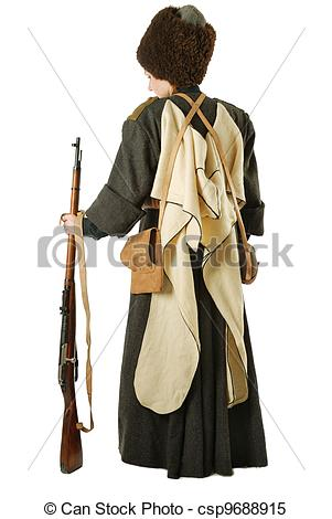 Stock Images of Russian Cossack standing back with rifle. The.