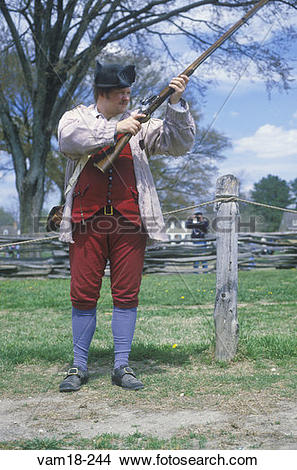 Stock Photo of Living history participant with musket in.