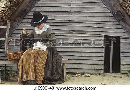 Stock Photography of Living history reenactment of Pilgrims.