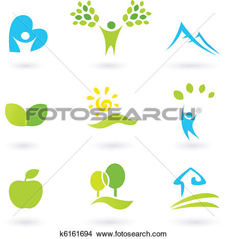 Clipart of Icons set or graphic elements inspired by nature and.