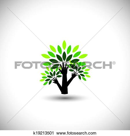Clipart of recycling, eco tree hand with leaves, helping nature.