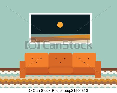 Vector Clip Art of Living room interior. Retro style sofa and.
