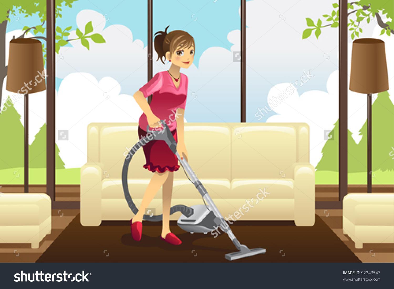 Vacuum the living room clipart.
