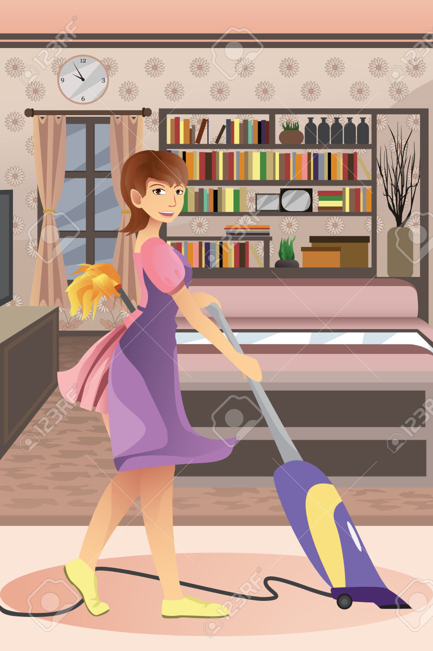 A Vector Illustration Of Happy Woman Vacuuming Carpet In The.