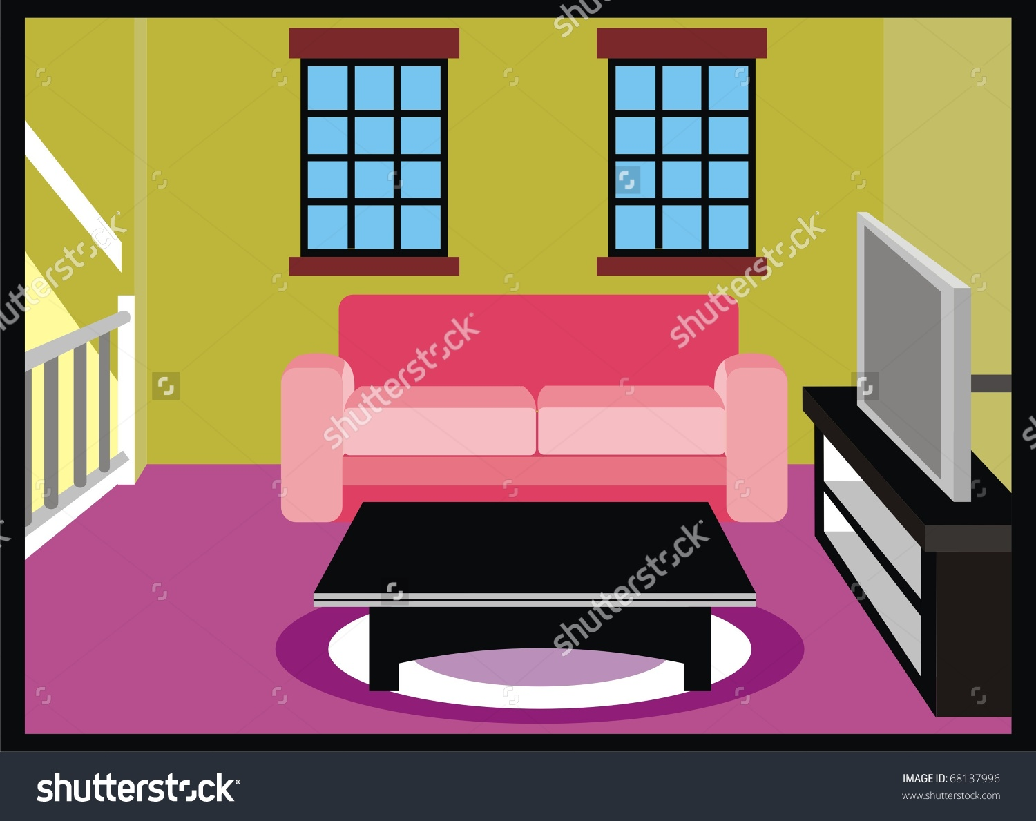 Vector Living Room Furniture Tv Table Stock Vector 68137996.