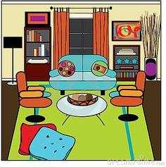 messy living room clipart.