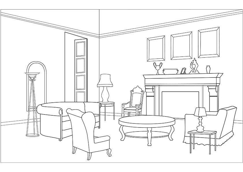 Living room coloring pages download and print for free.