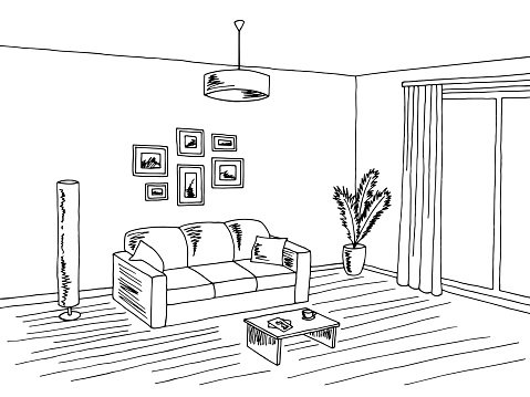 Living room interior black white graphic art sketch.