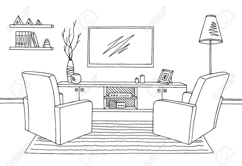 Inspiring Living Room Graphic Black White Interior Sketch.