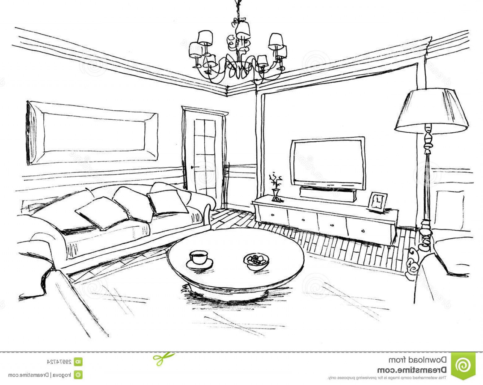Living Room With Tv Clipart Black And White.