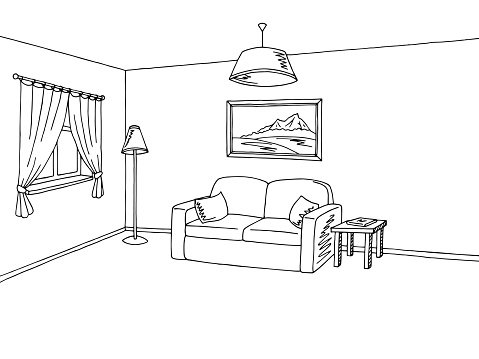 Living room interior black white sketch illustration vector.